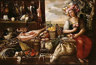 Francisco Barrera - Primavera, Spring, made in 1638, part of a series of 4 paintings depicting the four seasons. Now at the Museum of Fine Arts of Seville.