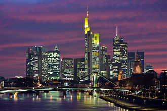 Central business district - Central business district of Frankfurt, Germany.
