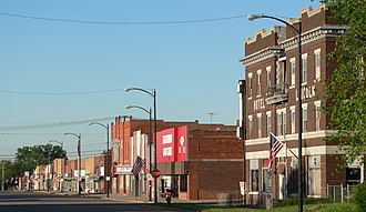 Franklin, Nebraska - Downtown Franklin, west side of 15th Ave, looking south from between M and N Streets, 2010
