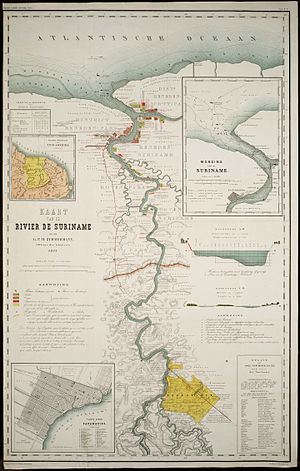 Suriname River - Map of the Suriname River in 1877 by G.P.H. Zimmerman.
