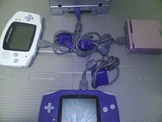 Game Link Cable - 4 player connection with 2 GBAs, 1 GBA SP and 1 GameCube