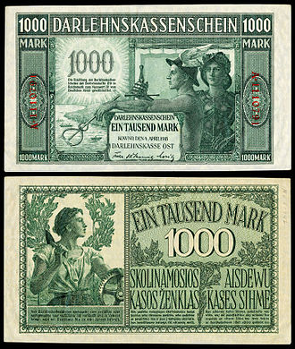German ostmark - Image: GER R134 Darlehnskassenschein 1000 Mark (1918)