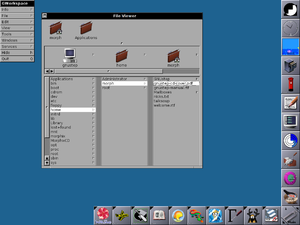 File manager - The Miller Column browser from GNUstep is a type of Navigational file manager.