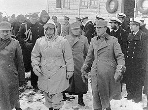 Chilean Antarctic Expedition - Chilean President Gabriel González Videla inaugurating the Base General Bernardo O'Higgins Riquelme, February 1948