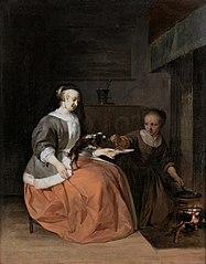 Lady, feeding her little dog