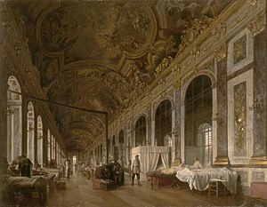 Proclamation of the German Empire (painting) - The Hall of Mirrors in the Palace of Versailles. A few days after the imperial proclamation, the victors of the Siege of Paris used it as a hospital (contemporary painting).