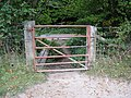 Gate exit onto Clappers Lane - geograph.org.uk - 1525695.jpg