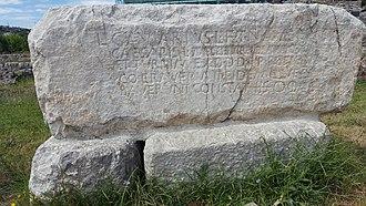 "Saint Nicholas Church, Lezhe - The ""Gaviarivs"" engraved stone at the entrance of the castle."