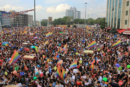 The 2013 Istanbul LGBT Pride at Taksim Square in Istanbul. Gay pride Istanbul 2013 - Taksim Square.jpg
