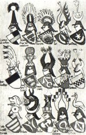 Clan Ostoja - Ostoja coat of arms (bottom row, second from left) in the Gelre Armorial.