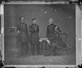 Gen. George B. McClellan and group. Gen. William T. Barry, Col. Clark, Gen. Stewart Van Vliet - NARA - 528585.tif