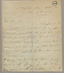 Lettera autografa del 1808 di Lord Byron a John Hanson,[1] suo avvocato e agente