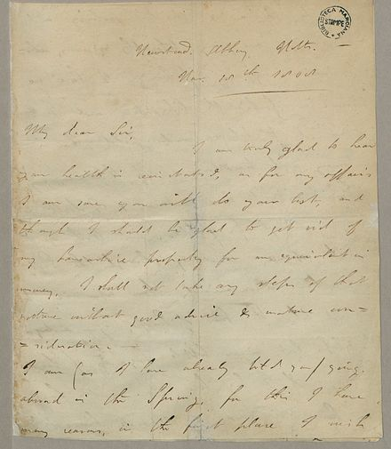 Autograph letter signed to John Hanson, Byron's lawyer and business agent. Fondazione BEIC George Gordon Byron Autograph.jpg