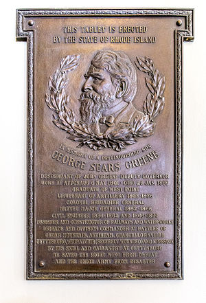 George S. Greene - Memorial plaque in the Rhode Island State House