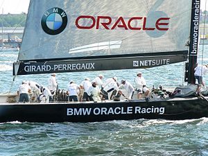 Oracle Corporation - BMW Oracle Racing USA-71, at the German Sailing Grand Prix Kiel 2006. It was moored at Oracle headquarters in Redwood Shores, California until 2014.