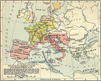 Vandalic War - Map of the East Roman Empire and the Germanic kingdoms of the western Mediterranean in 526