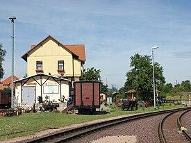 Crossing at Gernrode station in the direction of Quedlinburg