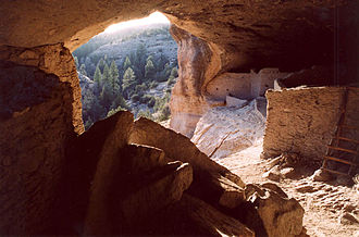 Mogollon culture - Looking out from one of the Gila Cliff cave dwellings