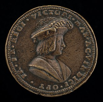 Giovanni Maria Pomedelli, Francois I, (obverse) Giovanni Maria Pomedelli, Francois I, 1494-1547, King of France 1515 (obverse), 1515 or after, NGA 44648.jpg