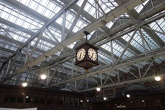 Glasgow Central station - Roof construction and railway clock