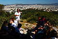 Global Studies teacher Nick Martino holds a class on democracy in Athens, Greece.jpg