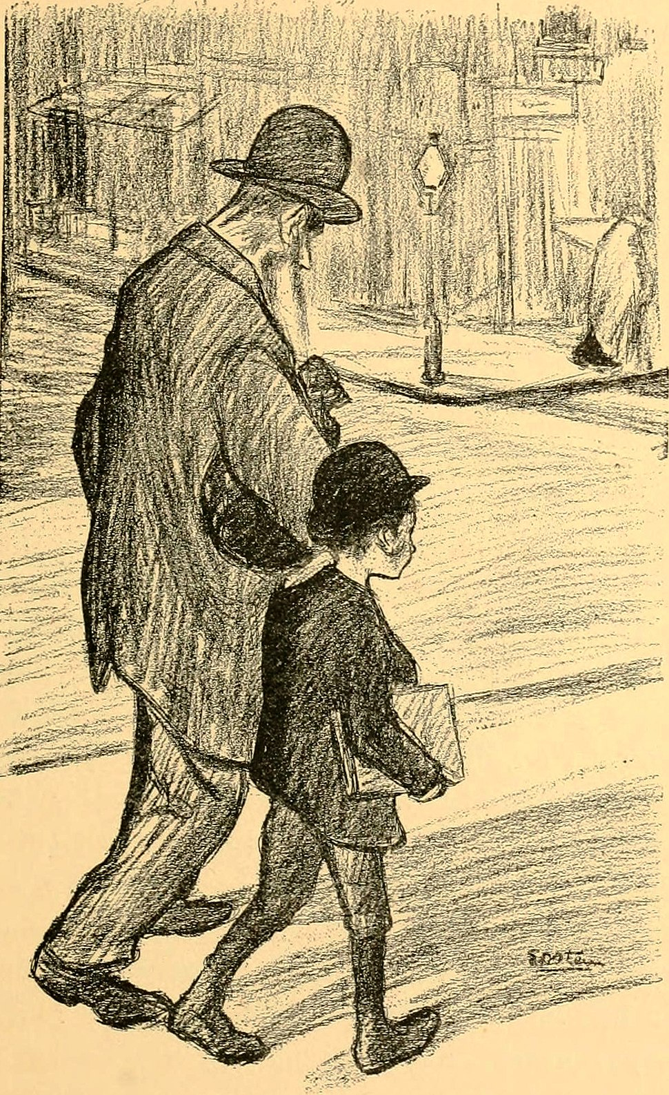 Going to the synagogue. The spirit of the Ghetto.1902