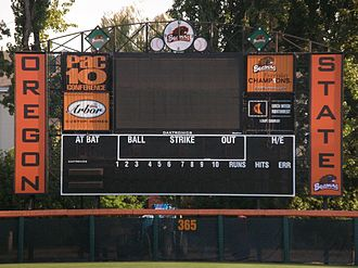 Goss Stadium at Coleman Field - New scoreboard in October 2006