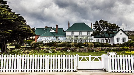 Government House in Stanley is the Governor's official residence. Government House, Falkland Islands.jpg