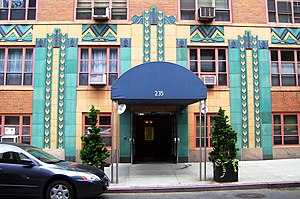 The Gramercy House apartments, 235 East 22nd Street at Second Avenue in Manhattan, New York City, an early Modern apartment designed by George & Edward Blum features a glazed terra-cotta Art Deco frieze