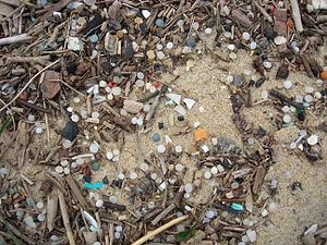 Plastic resin pellet pollution - Nurdles on a beach in southwest France, in 2011