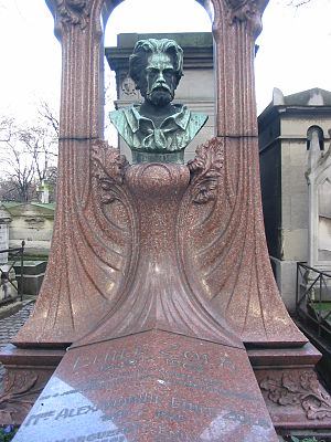 Émile Zola - Gravestone of Émile Zola at cimetière Montmartre; his remains are now interred in the Panthéon.