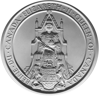 The Great Seal of Canada used during the reign of Queen Elizabeth II Great Seal of Canada.png