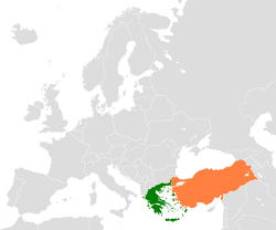 Map indicating locations of Greece and Turkey