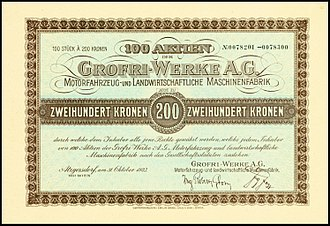 Grofri - Share of the Grofri-Werke AG, issued 31. October 1923