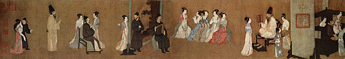 A long, landscape oriented scroll segment depicting twenty-two people, both men and women, in elegant garb at a party. Near the center of the scroll five women in light colored robes play flutes while a man in a black outfit plays a wooden intstruement composed of a stick and a triangular block. At the far right of the scroll is an area with two men and two women behind a curtain wall, staring off canvas.