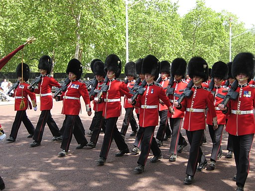 Guards march up the mall for changing of the guard