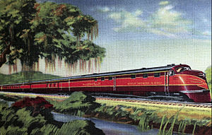 Gulf, Mobile and Ohio Railroad - Postcard c. 1940 depicting one of the Rebel streamliners