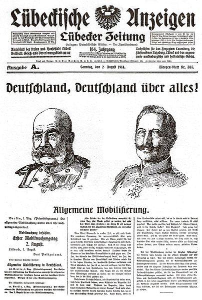 Lübeckische Anzeigen, Nr. 385, Ausgabe A vom 2. August 1914: Deutsche Mobilmachung