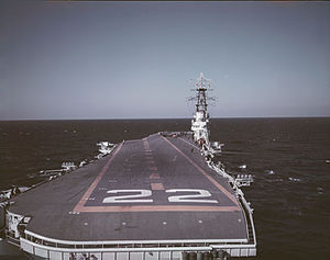 HMCS Bonaventure - HMCS Bonaventure from the stern, photo taken in October 1957