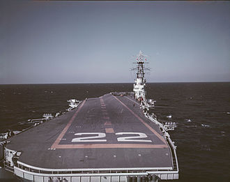 HMCS Bonaventure - HMCS Bonaventure from the stern, photo taken in October 1957