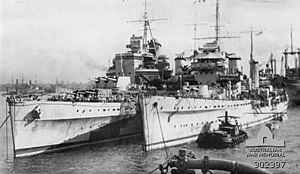 Battle of the Bay of Biscay - HMS Glasgow and Enterprise shown together in 1942