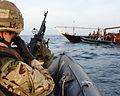 HMS Monmouth's Boarding Team Approach a Dhow MOD 45155251.jpg