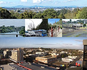 Hamilton from Till's Lookout, from Whitiora to Fairfield Bridge, traffic on SH1, Māori Garden, Hamilton Station, city offices and WINTEC