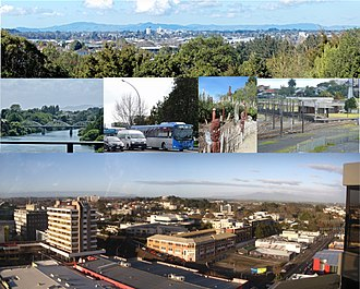Hamilton, New Zealand - Hamilton from Till's Lookout, from Whitiora to Fairfield Bridge, traffic on SH1, Māori Garden, Hamilton Station, city offices and WINTEC