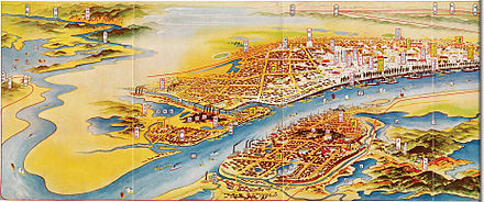 A map of Wuhan painted by Japanese in 1930, with Hankou being the most prosperous sector Hankou 1930.jpg