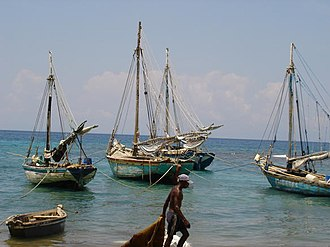 Fishing industry in the Caribbean - Fishing boats in the harbour of Petite Rivière de Nippes, Haiti