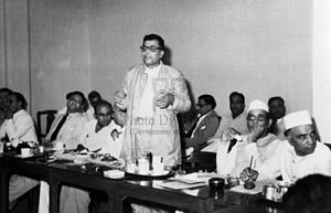Harekrushna Mahatab - Harekrushna Mahatab, Minister for Industry and Supply , Government of India, addressing the Textiles Advisory Committee Meeting held in Bombay in June, 1950.
