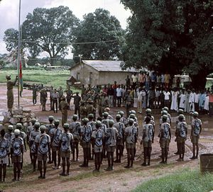 Guinea-Bissau War of Independence - PAIGC guerillas raise the new flag of Guinea-Bissau in 1974