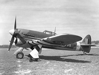 Invasion stripes - A Hawker Typhoon of No. 56 Squadron RAF, painted with recognition stripes under the wings (April 1943)