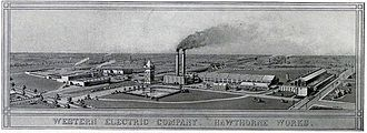 Hawthorne Works - Aerial view of the Hawthorne Works, ca. 1907.
